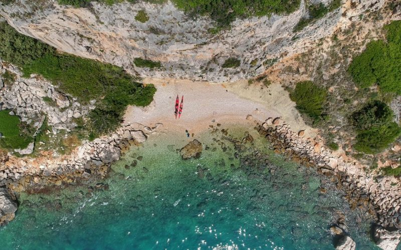 Secluded beach on Ciovo island - Island hopping sea kayak tour Croatia - Red Adventures