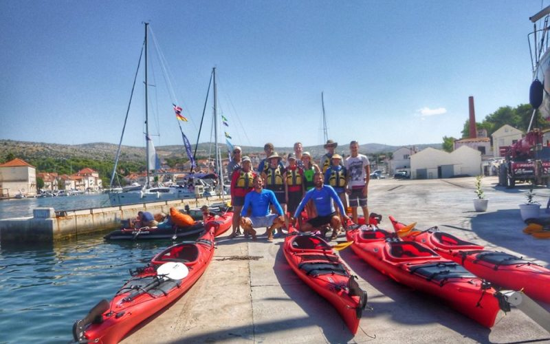 Group photo :) - Island hopping sea kayak tour Croatia - Red Adventures