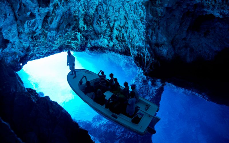 Blue cave on island Bisevo - Magic island sea kayak tour Croatia