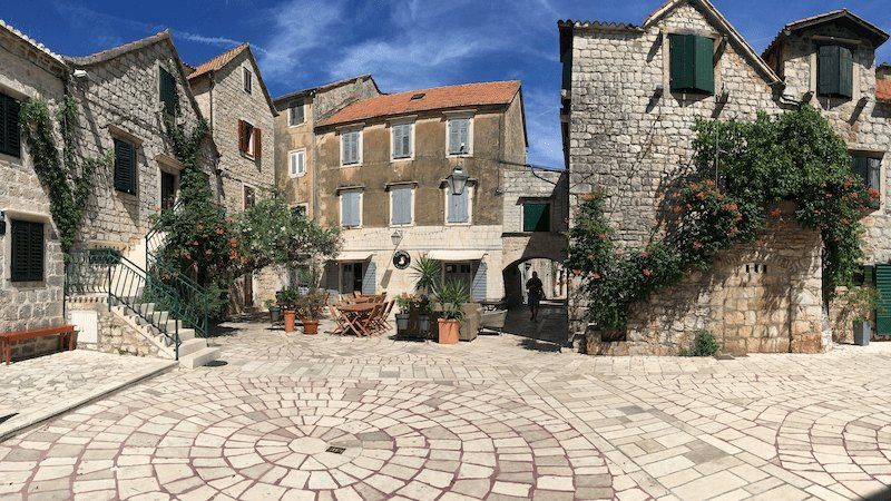 Charming public square on Hvar Island - Hiking holiday in Croatia -