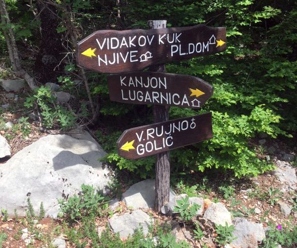 Hiking signs showing the direction