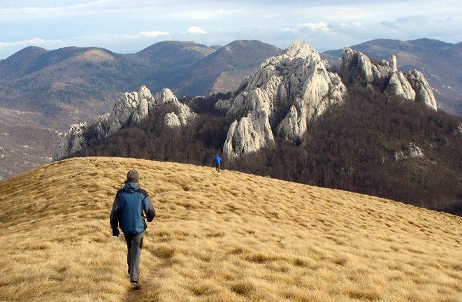 "Walk to the set of sharp rocky peaks called ""Kukovi""."