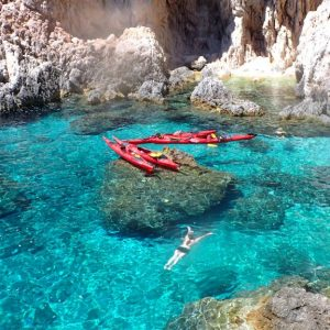 Turquoise sea swimming break - Magic island sea kayak tour Croatia