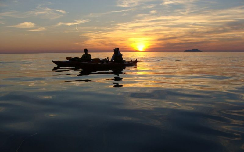 Sunset on the sea - Magic island sea kayak tour Croatia
