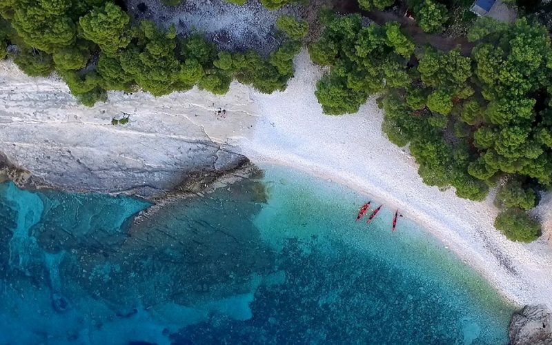 Srebrna beach on island Vis - Magic island sea kayak tour Croatia