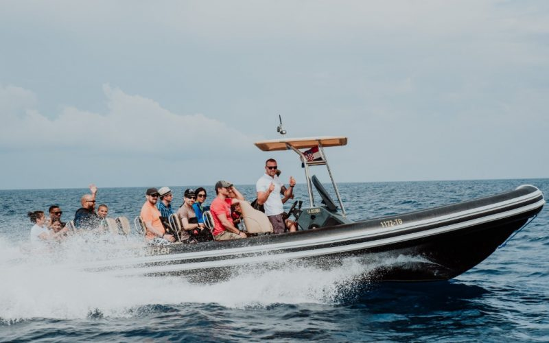 A speed boat cruising to Vis island