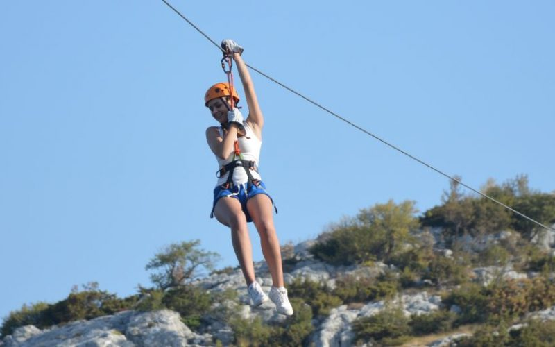 Adrenaline rush while ziplining